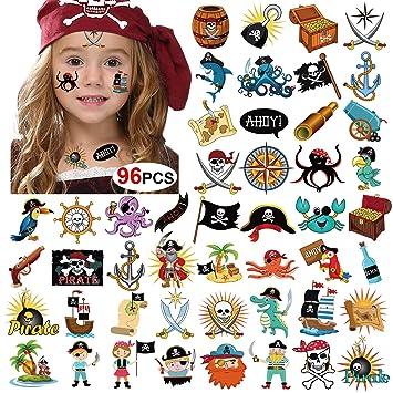 Amazon.com: KONSAIT Tatuajes piratas (96 piezas), konsait ...