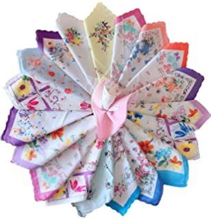 Dillian Womens Vintage Floral Wedding Party Cotton Handkerchiefs 10pcs Decor NEW