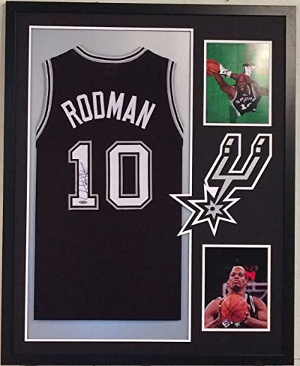 9e619b982f8 Image Unavailable. Image not available for. Color  Dennis Rodman  Autographed Custom Framed San Antonio Spurs Jersey Tristar Authenticated