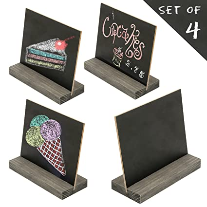Superieur 5 X 6 Inch Mini Tabletop Chalkboard Signs With Vintage Style Wood Base  Stands, Set
