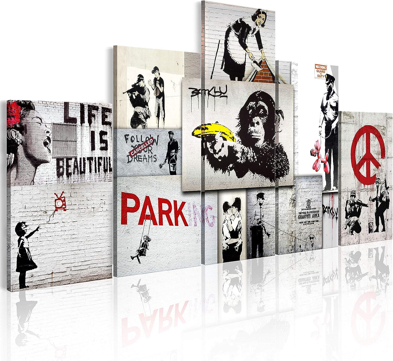 murando - Cuadro en Lienzo Banksy 200x100 cm Abstracto Impresión de 5 Piezas Material Tejido no Tejido Impresión Artística Imagen Gráfica Decoracion de Pared f-C-0138-b-m