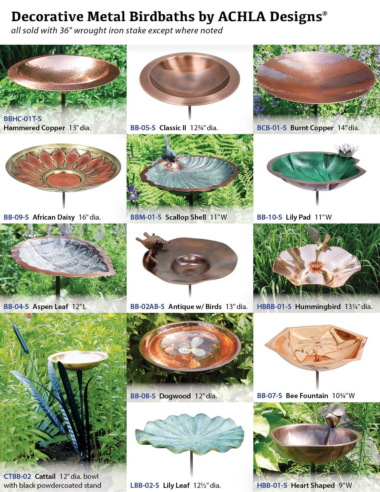 Achla Designs Cattail Birdbath with Single Copper Bowl
