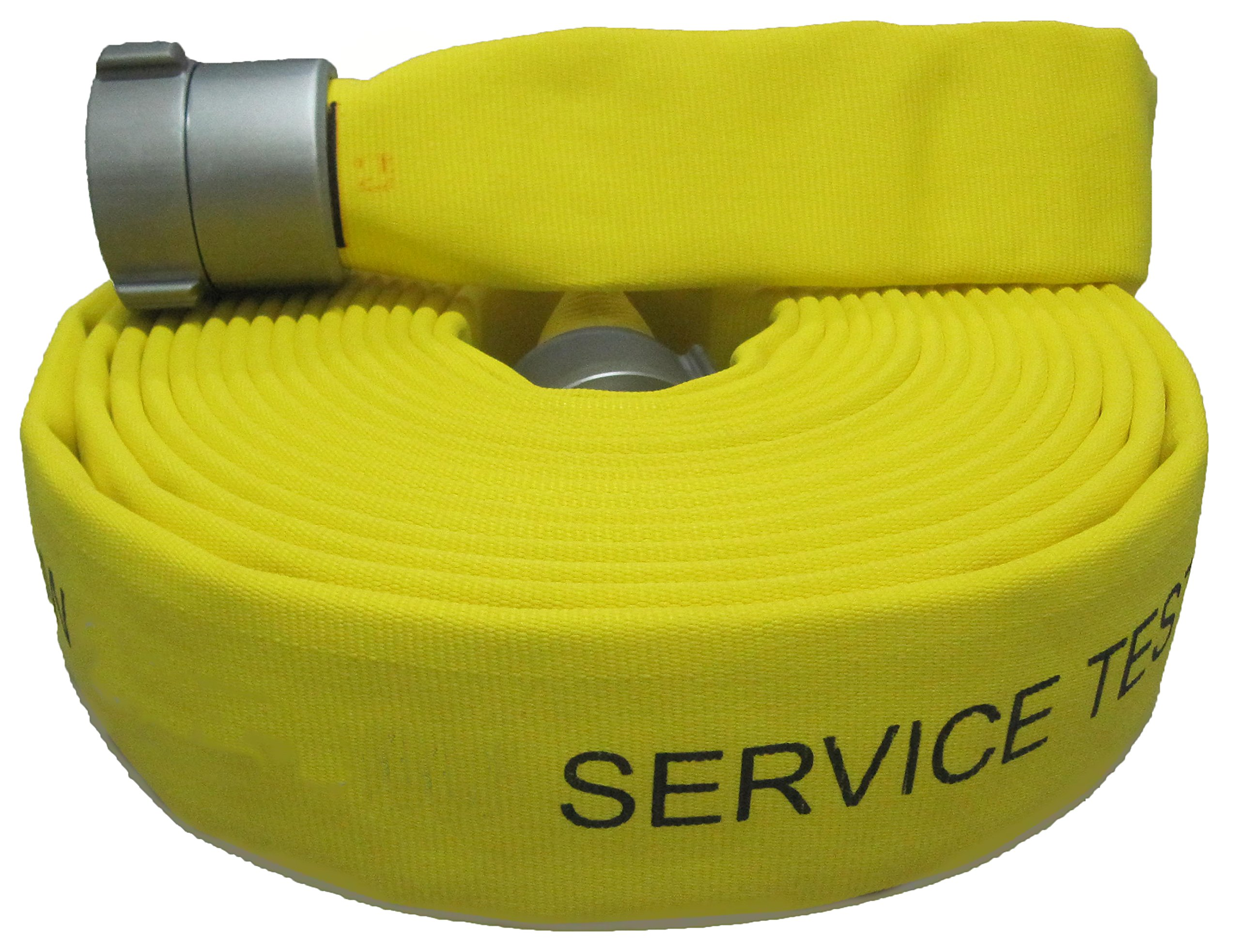 5Elem 017-0323-06015Elem FAS Series Single Jacket Fire Hose, 50' Length, 2'' ID, 2.38'' OD, 650 psi, NST Male x Female Brass Connectors, Polyester/EPDM, Yellow