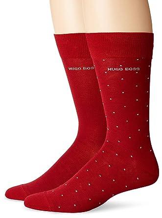 5bd587fdc62 Amazon.com: BOSS HUGO BOSS Men's 2-Pack RS Dot Dress Socks, red, 10 ...