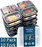 Amazon Price History for:[10 Pack]3 Compartment Meal Prep Food Storage Containers with Lids/BPA Free Bento Lunch Boxes/Divided Portion Control Container Plates-Microwave, Dishwasher Safe, Free Cutlery
