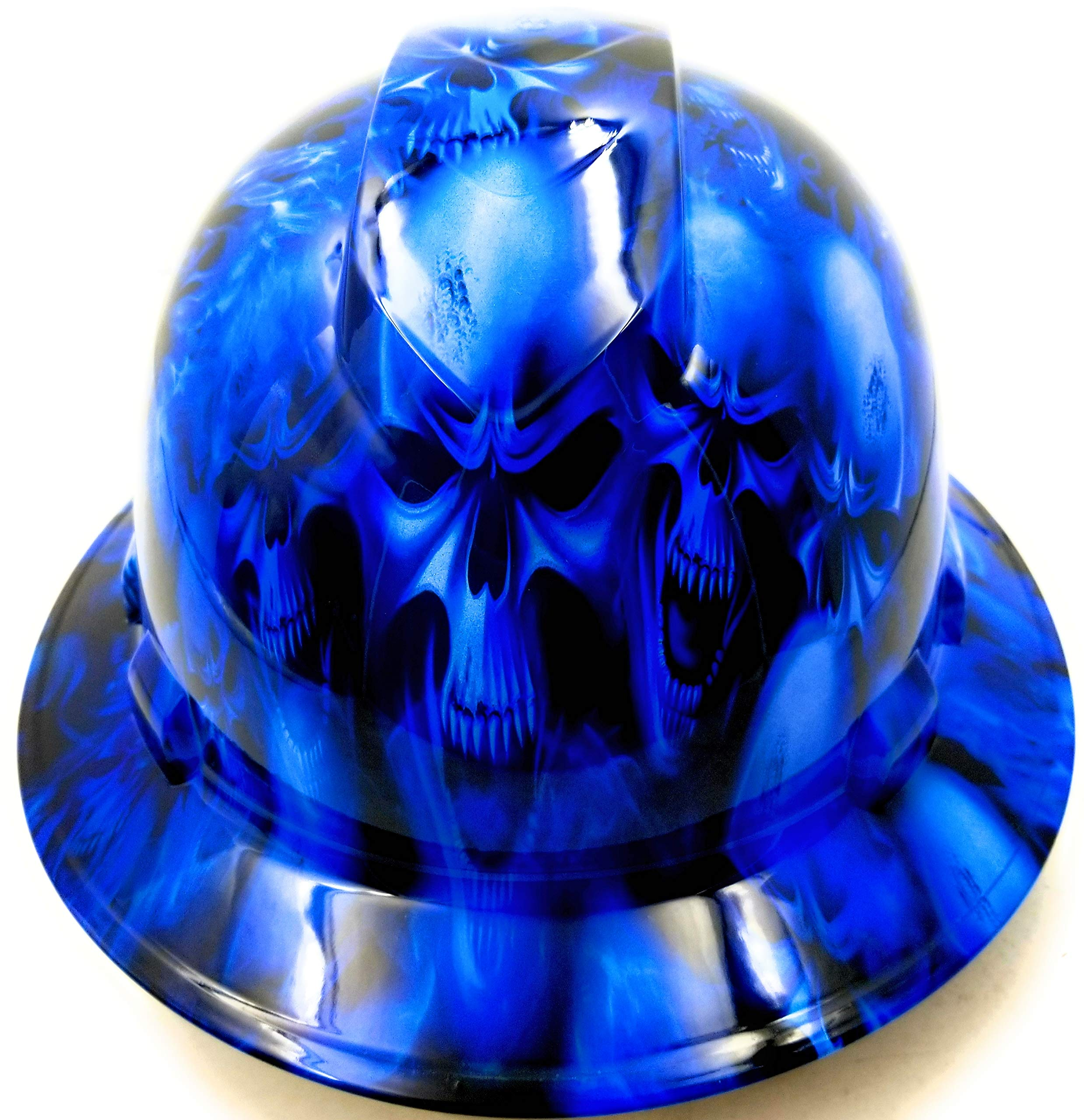 Wet Works Imaging Customized Pyramex Full Brim Full ICE Skull Limited Hard HAT with Ratcheting Suspension Custom LIDS Crazy Sick Construction PPE