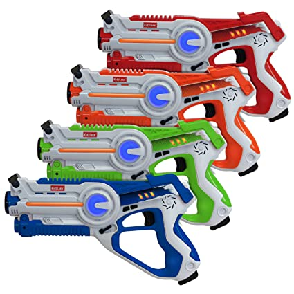 Kidzlane Infrared Laser Tag : Game Mega Pack - Set of 4 Players - Infrared  Laser Gun Indoor and Outdoor Group Activity Fun  Infrared 0 9mW