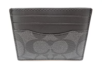 buy online 3a1a8 f8779 Coach F58110 ID Card Case Signature Charcoal/Black