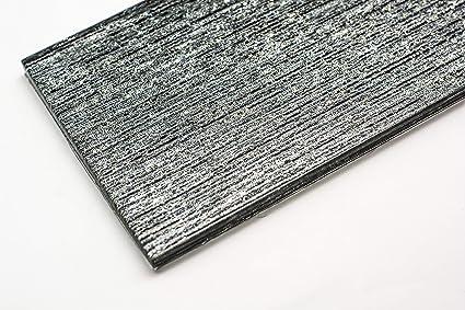Piastrelle di vetro mosaico 10 x 30 cm ardesia grigio shimmer cucina