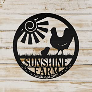 Tamengi Personalized Family Farm with Established Date Chicken Metal Sign Wall Hanging Wall Address Plaque Room Decor Monogram Wall Art Outdoor Indoor Metal Sign 24inch