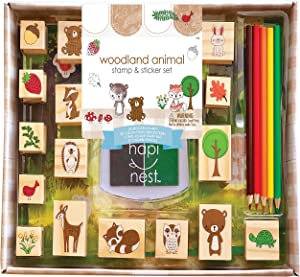 Hapinest Woodland Animal Wooden Stamp and Sticker Activities Arts and Crafts Set for Kids Boys and Girls Toddler Ages 4 5 6 7 8 9 10 Years Old