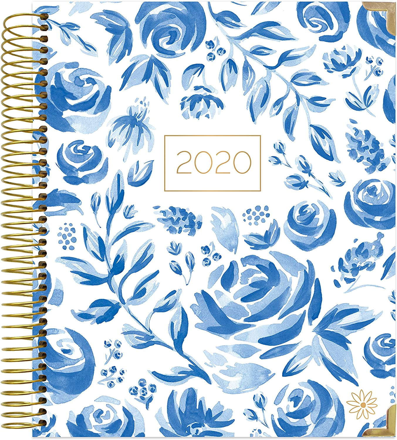 "HARDCOVER bloom daily planners 2020 Calendar Year Goal & Vision Planner (January 2020 - December 2020) - Monthly/Weekly Column View Agenda Organizer - 7.5"" x 9"" - Blue & White Floral"