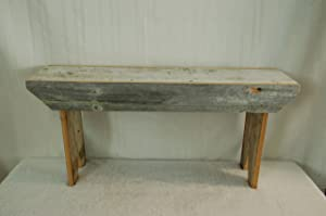 """Rustic 3 Foot Barnwood Bench. This Country Bench Seats Varies in Width From 8 - 10"""" and Stands 16"""" Off Ground. Made From Antique Barnwood in Excess of 100 Years Old. This Rustic Primitive Bench Is a Great Addition to Your Home and Garden Landscape Design. Spectacular Bench and a Piece of History At a Spectacular Price."""