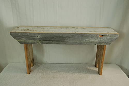 Rustic 3 Foot Barnwood Bench. This Country Bench Seats Varies in Width From 8 – 10 and Stands 16 Off Ground. Made From Antique Barnwood in Excess of 100 Years Old. This Rustic Primitive Bench Is a Great Addition to Your Home and Garden Landscape Design. Spectacular Bench and a Piece of History At a Spectacular Price.