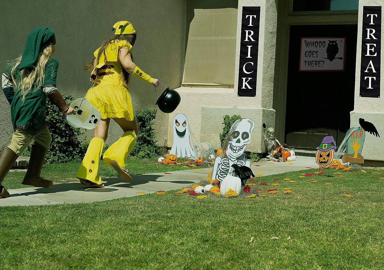 Skeleton and Grave Halloween Lawn Decor. Pumpkin Ghost 4 Piece Jumbo Sized Halloween Yard Decorations Halloween Decorations Outdoor Yard Signs with Stakes