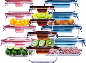 Cubirr 12PCS 1 Compartment Food Containers Containers Leakproof Glass Food Storage Containers with Lids - Friut Prep Containers Glass Storage Containers with Lids (12pcs Three Shapes)
