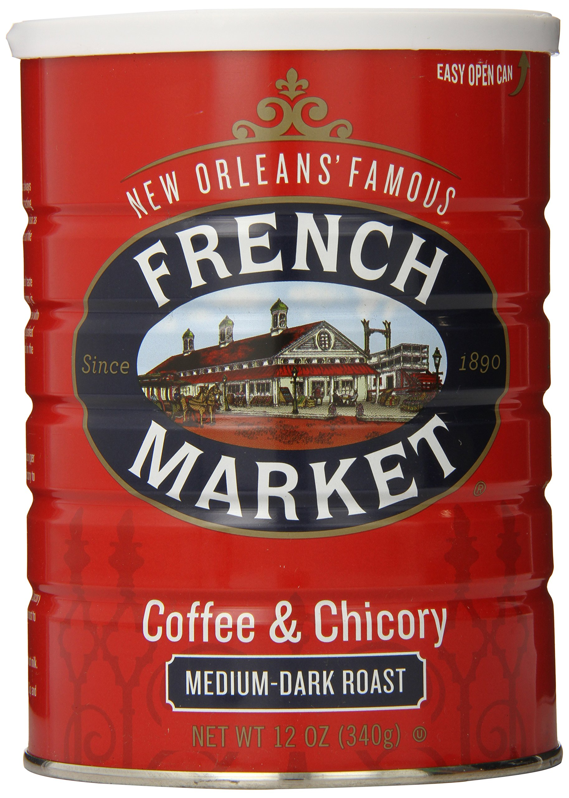 FRENCH MARKET Coffee and Chicory, Medium-Dark Roast, 12 Ounce Can