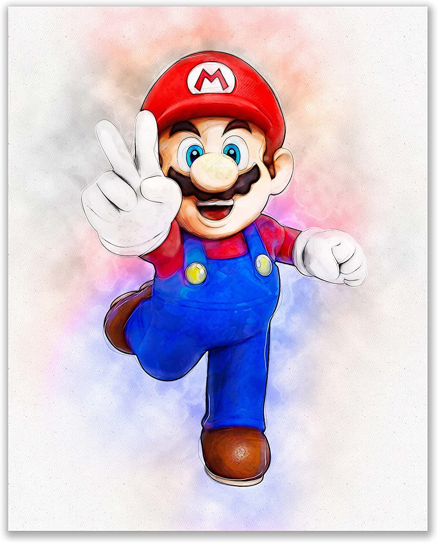 Mario watercolour print. mario poster Mario watercolour print ...