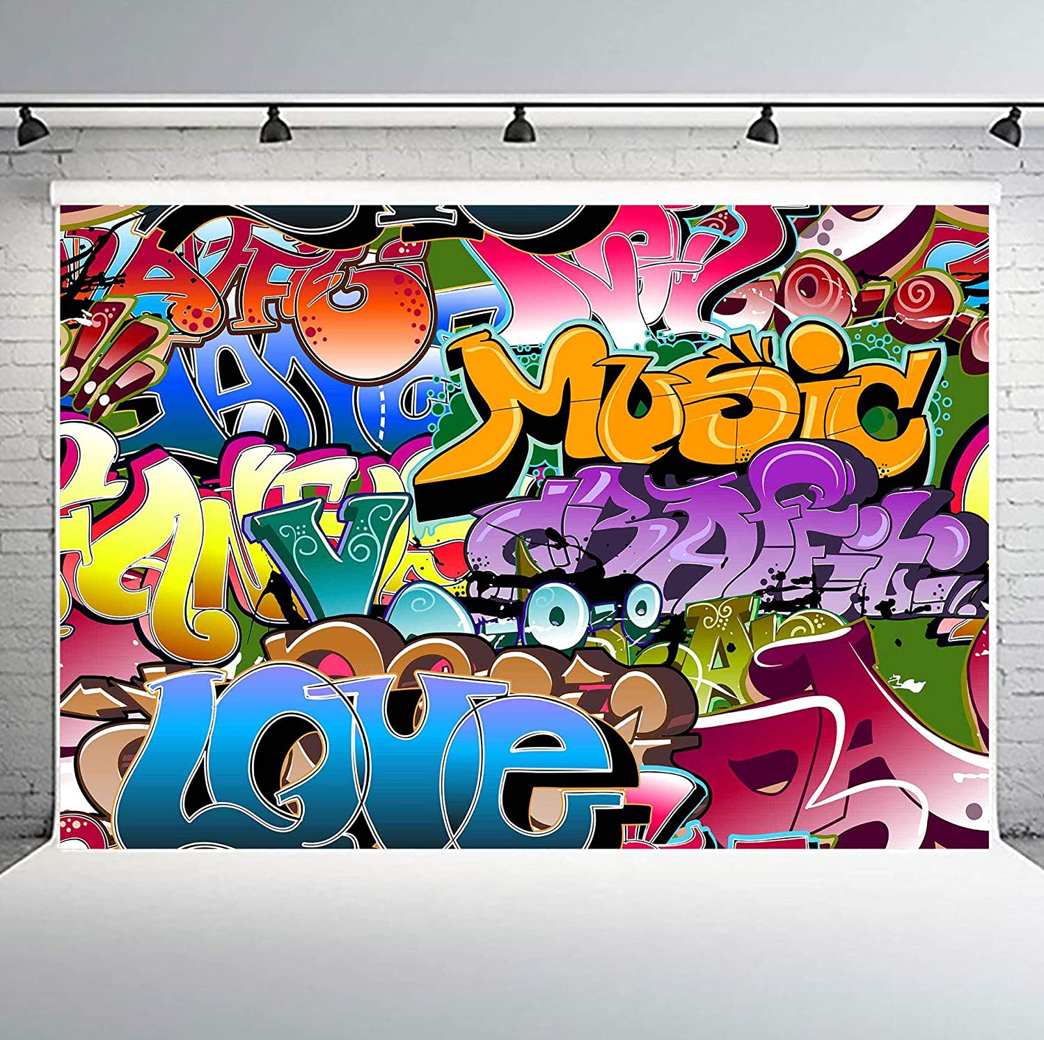 Amazon com phmojen 10x7ft graffiti style background 80s 90s themed party backdrop for photography hip hop background studio props geph035 camera
