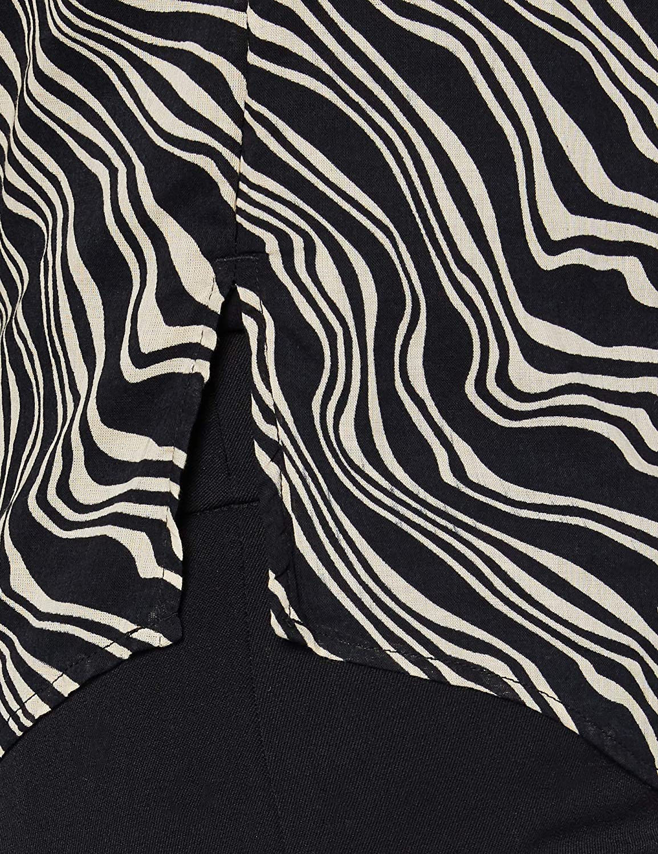TOM TAILOR dam klassisk blus Black Wavy Design