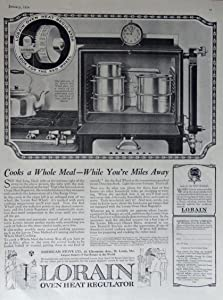 Lorain Oven Heat Regulator, 20's Print Ad. Full Page B&W Illustration (cooks a whole meal-while you're miles away) Original Vintage 1924 Modern Priscilla Magazine Print Art