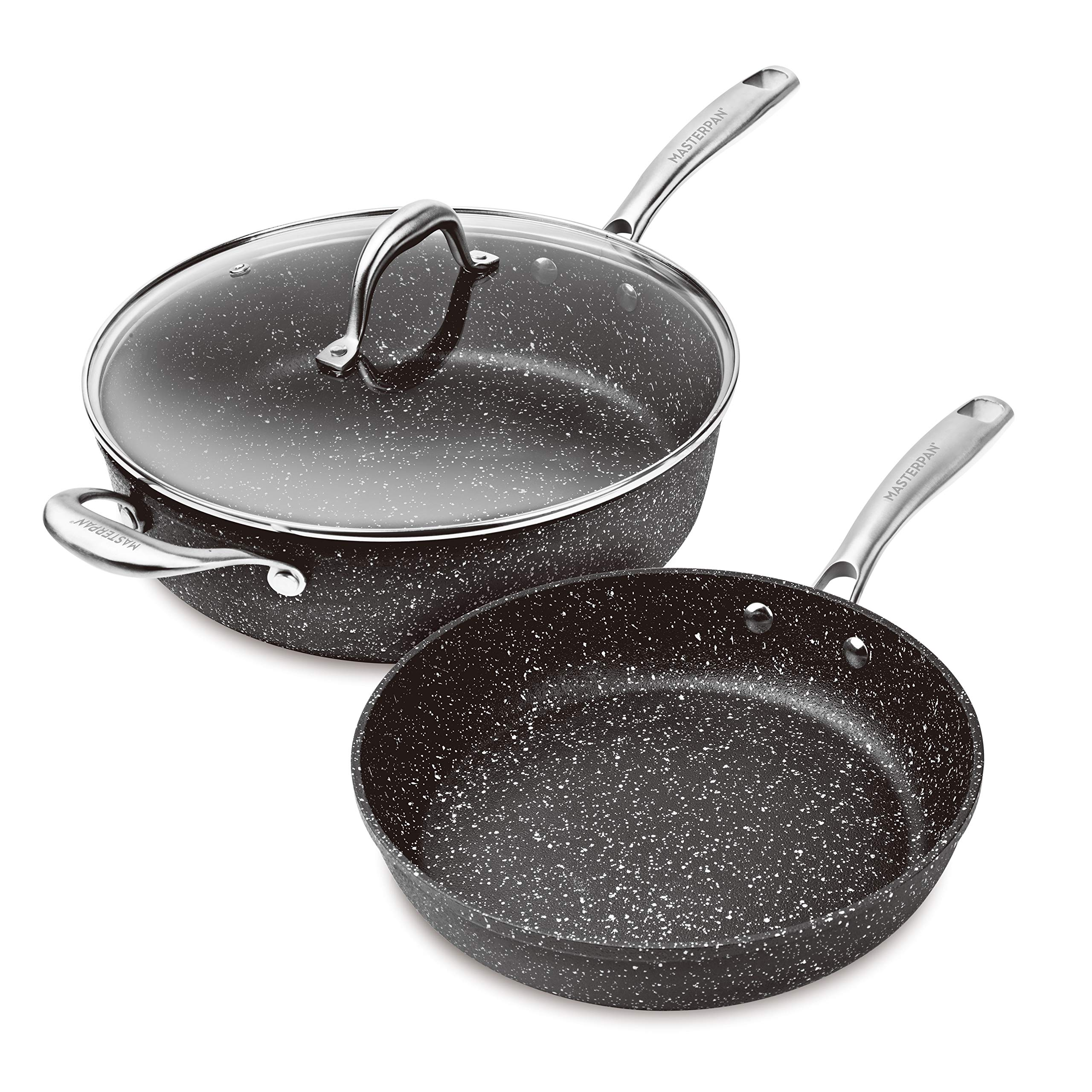 MasterPan MP-201 3-Piece Granite Superior Non-Stick Cast Aluminum Fry Saute Pan with Lid, 11'' Series