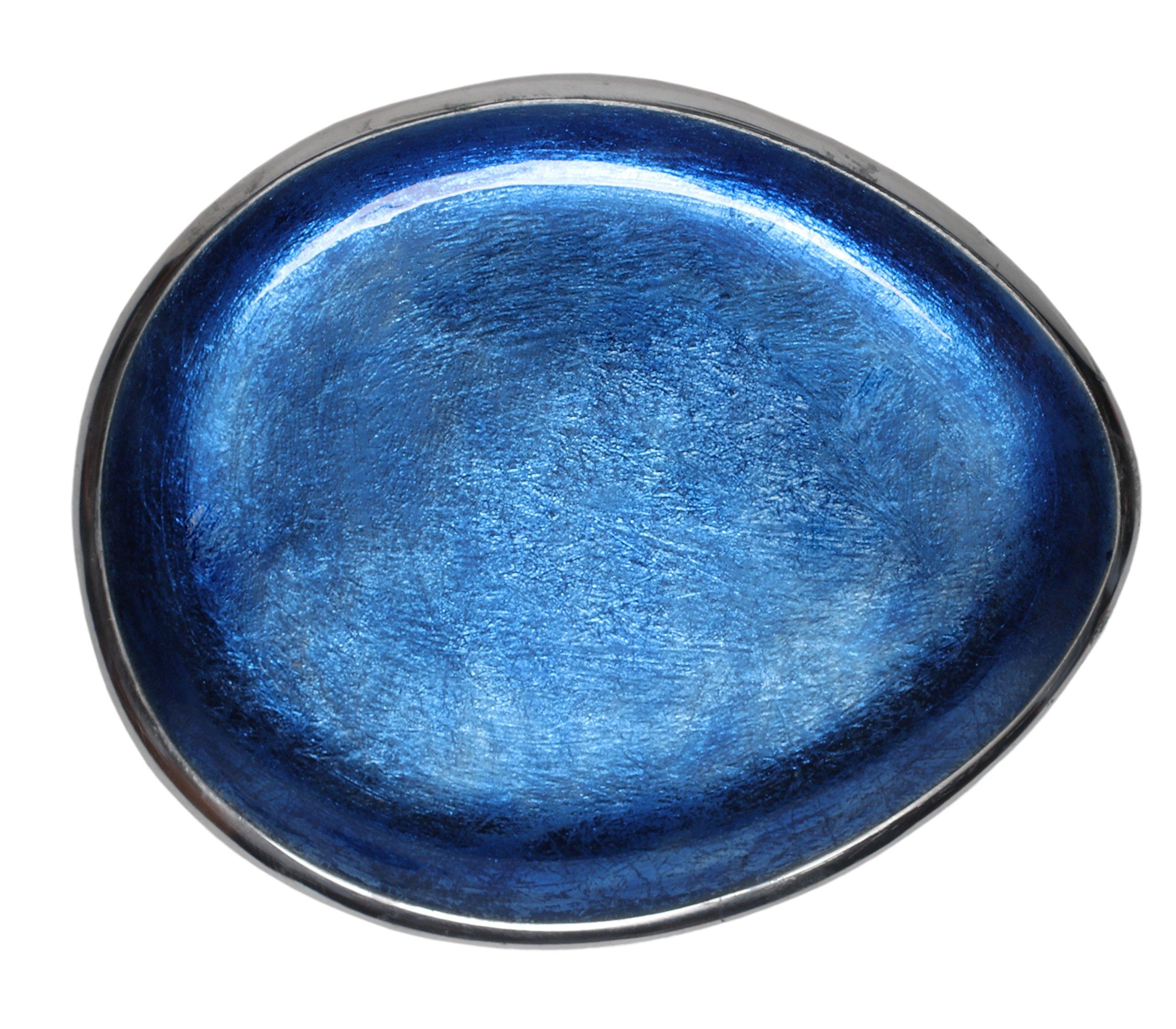Melange Home Decor Cuivre Collection, 9-inch Oval Platter, Color - Sky Blue