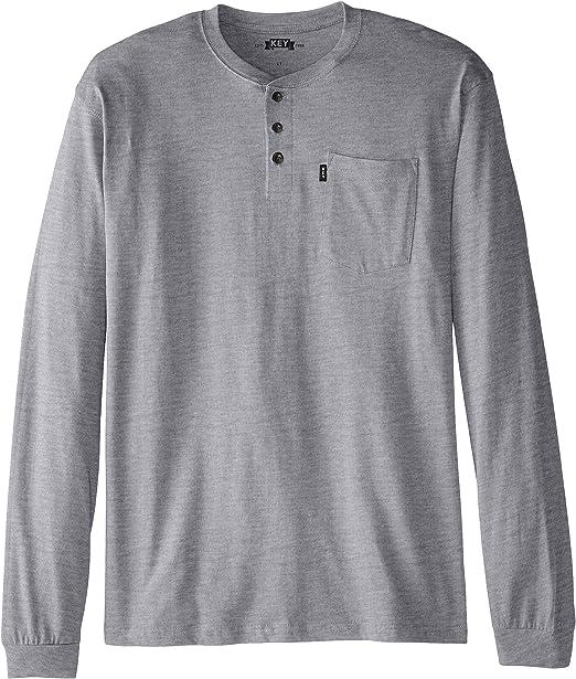 Key Apparel Mens Big Big /& Tall Heavyweight 3-Button Long Sleeve Henley Pocket T-Shirt Navy 3X-Large//Tall