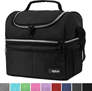 Insulated Dual Compartment Lunch Bag for Men, Women | Double Deck Reusable Lunch Box Cooler with Shoulder Strap, Leakproof Liner | Medium Lunch Pail for School, Work, Office (Black)