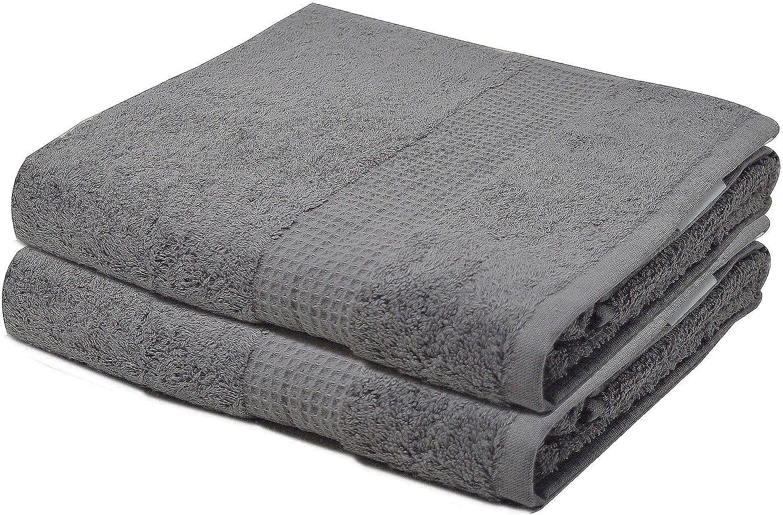 Towelogy® - Juego de toallas de baño (700 g/m², algodón de primera calidad, tamaño extra grande), algodón, Plateado, 2 Hand Towels: Amazon.es: Hogar