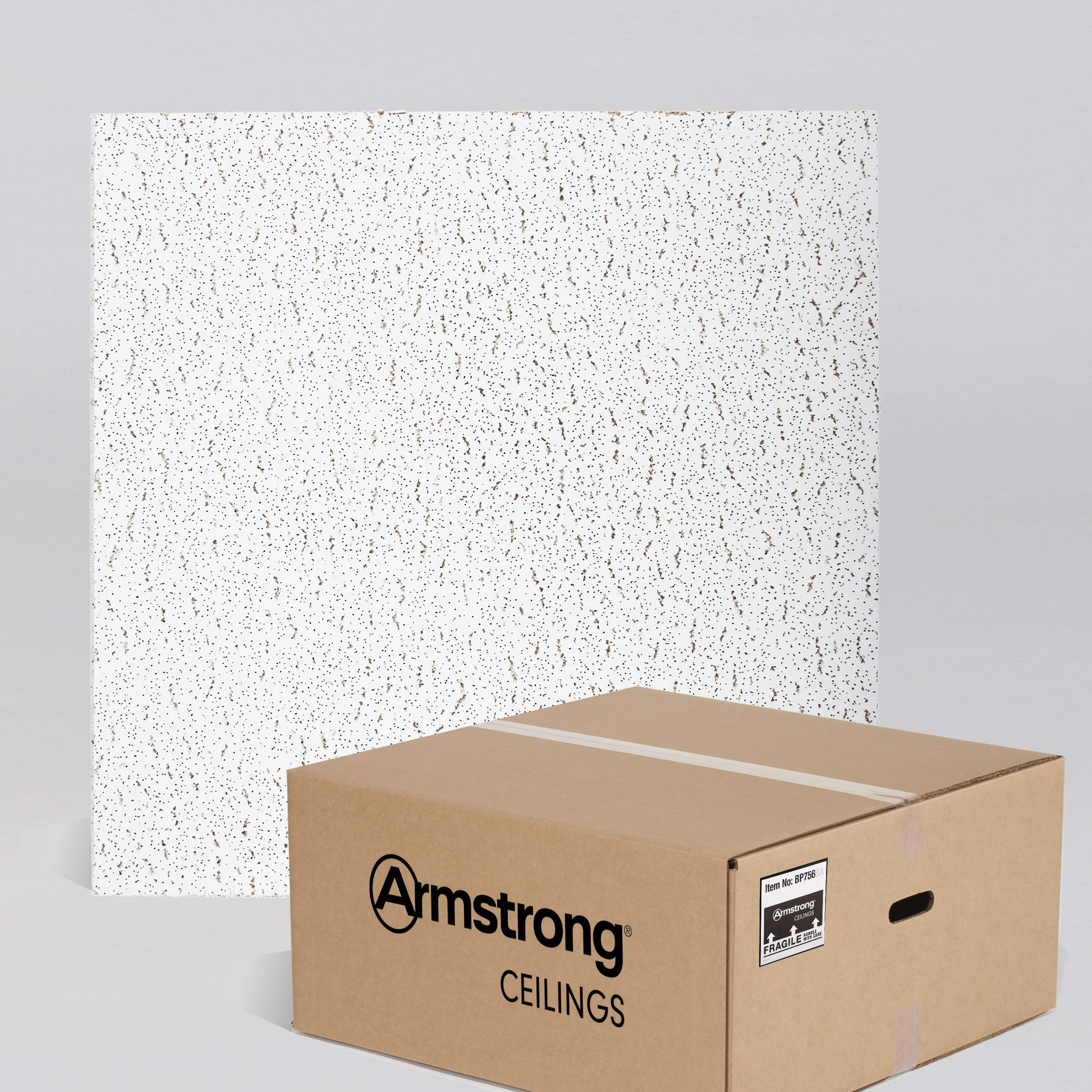 Armstrong Ceiling Tiles; 2x2 Ceiling Tiles - Acoustic Ceilings for Suspended Ceiling Grid; Drop Ceiling Tiles Direct from the Manufacturer; FISSURED Item 756 - 16 pcs White Lay-in