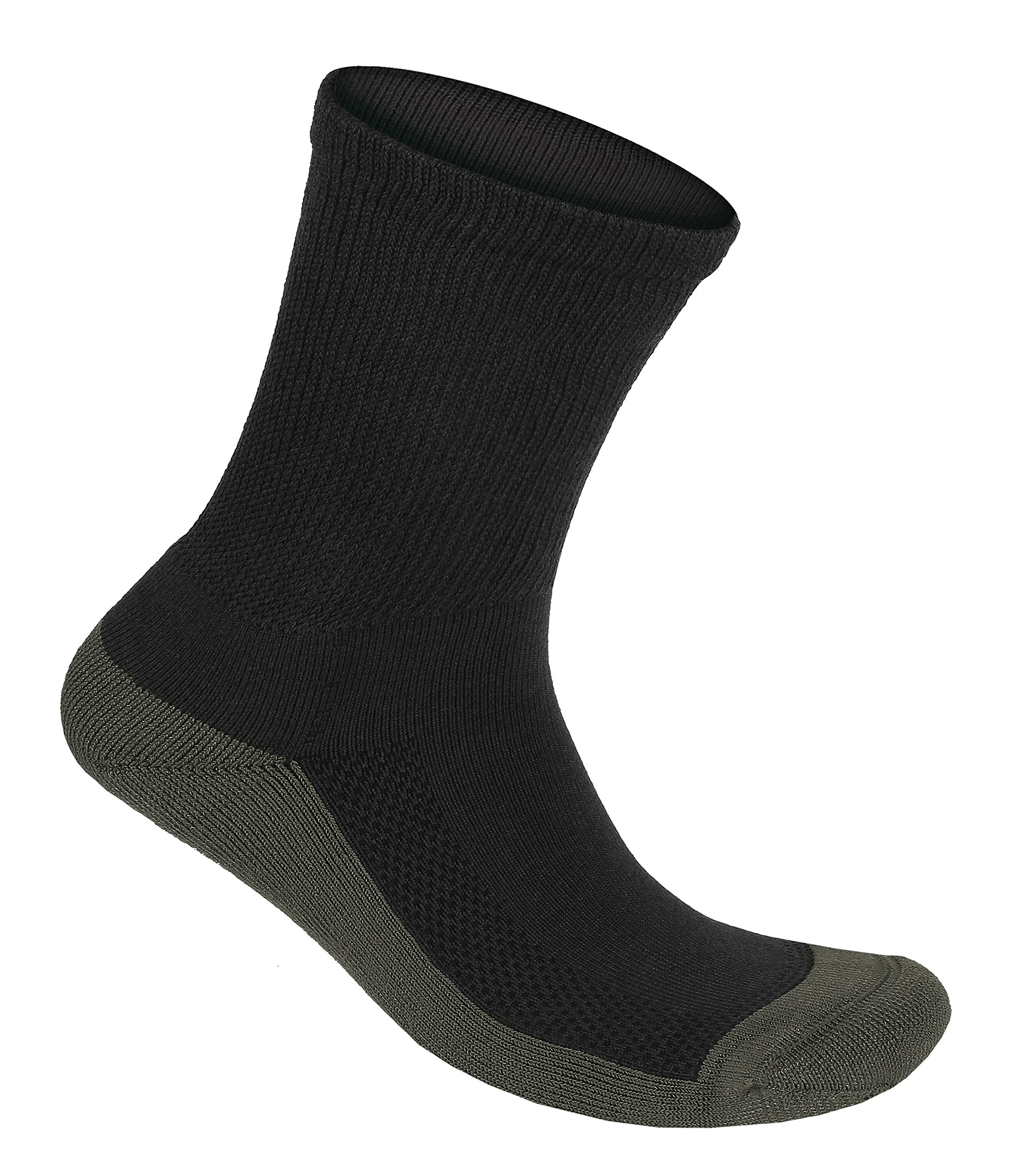 Orthofeet Padded Sole Non-Binding Non-Constrictive Circulation Seam Free Bamboo Socks Charcoal, 3 Pack Extra Large