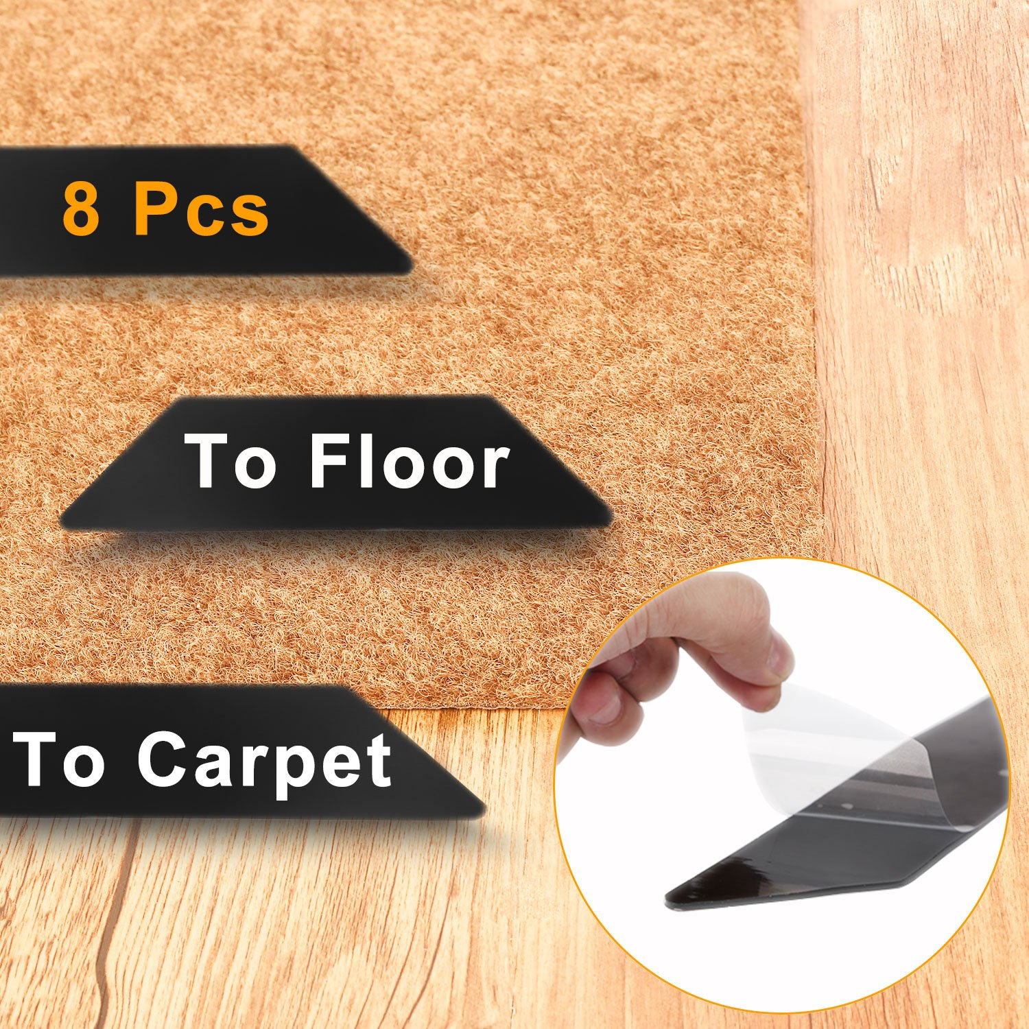 Rug Gripper, SSZY Set of 8 Upgraded Rug Holder Anti-Curling Stop Rug Slipping, Flatten Carpet, Premium Renewable Carpet Gripper, Ideal Anti-Slip Rug Pad