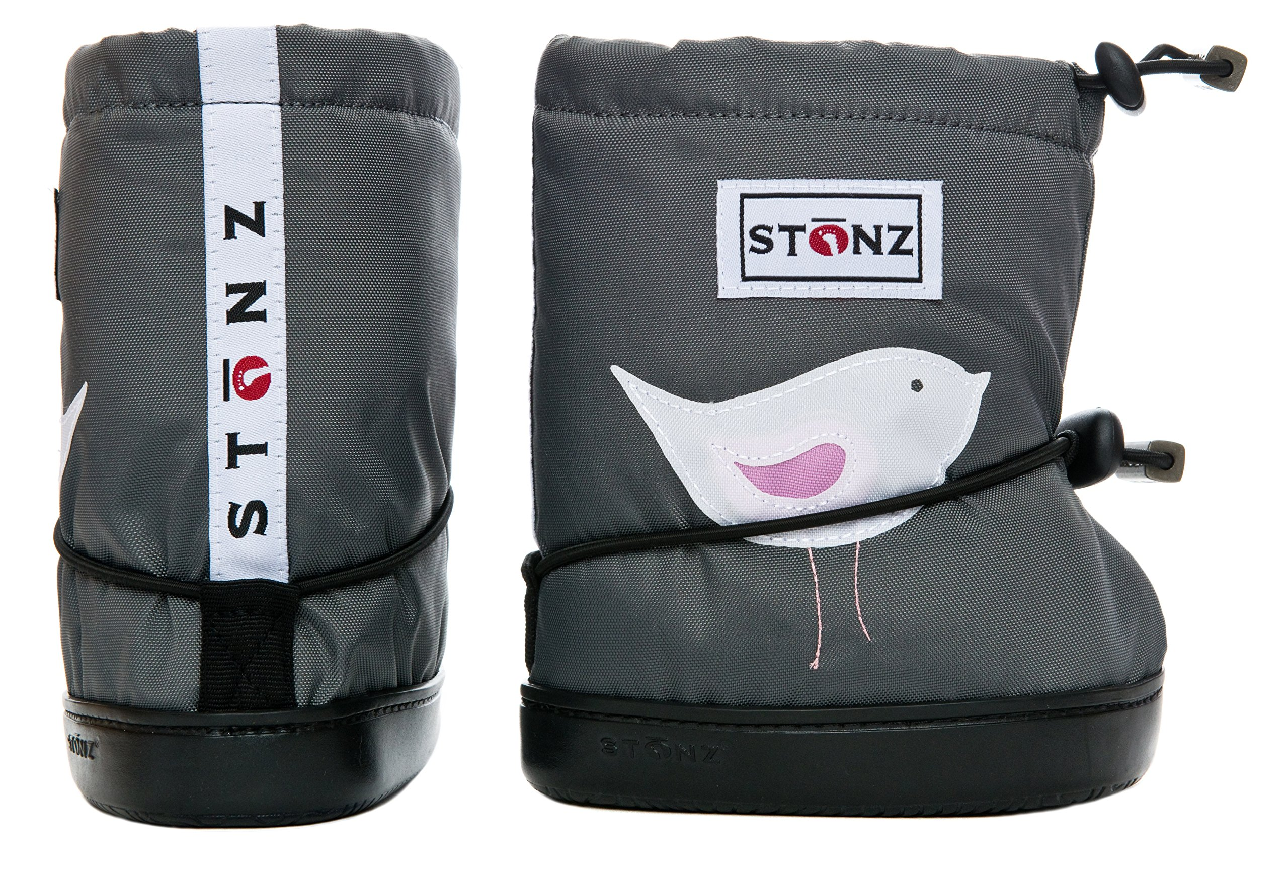 Stonz Three Season Stay-On Baby Booties, for Bare Feet Or Shoes, for Mild Or Cold Snow Weather, Bird - Grey PLUSfoam Medium by Stonz