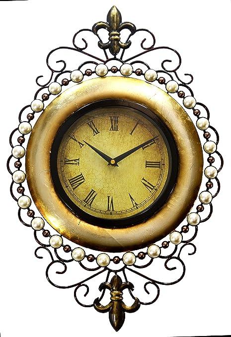 Large Oval Ornate Metal Wall Art Clock, Gilt & Pearl Design: Amazon ...