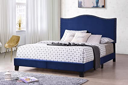 Amazon.com: Kings Brand Furniture Clarno Blue Velvet Nailhead Trim ...