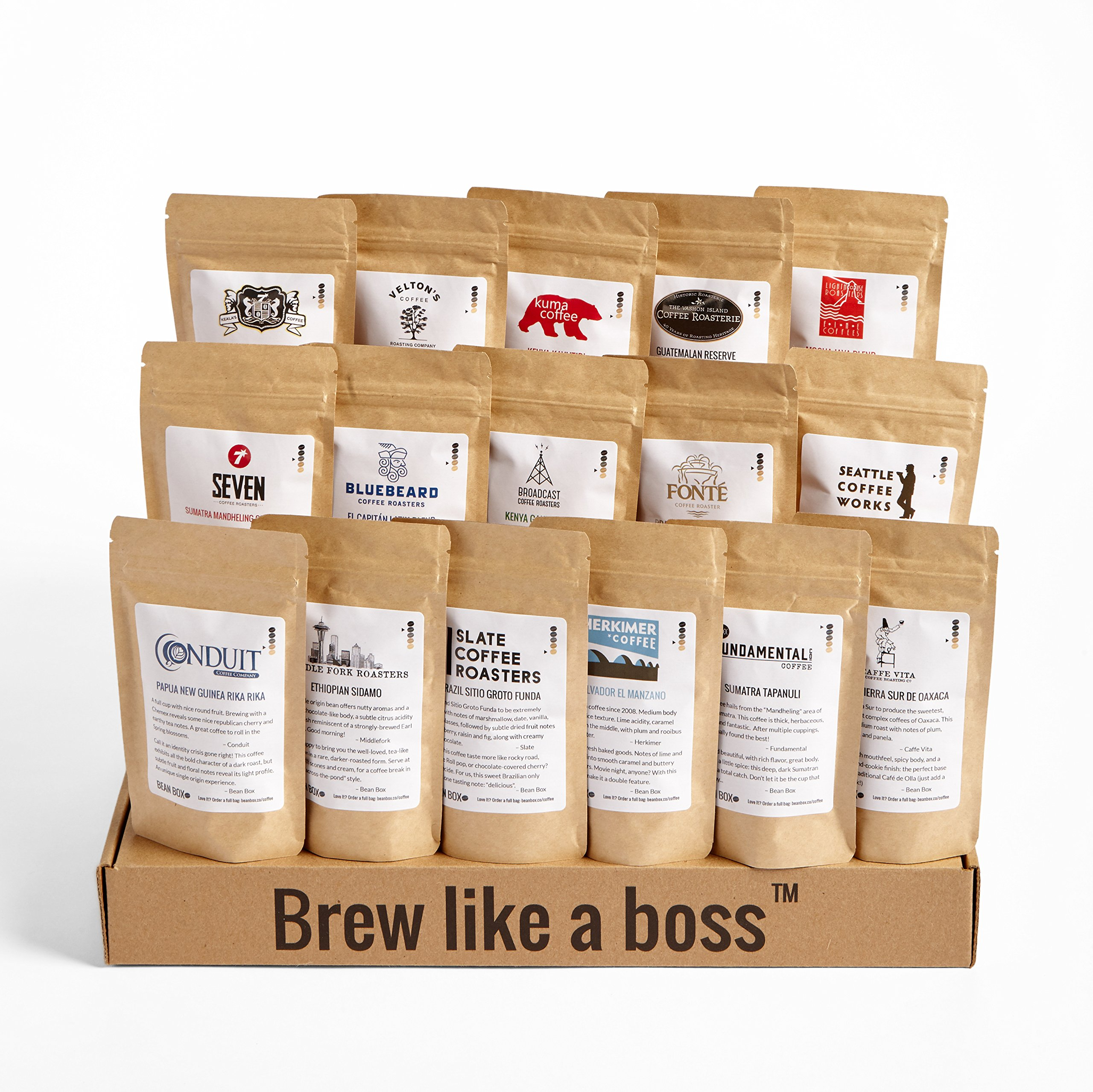 Bean Box Seattle Deluxe Coffee Tour Gourmet Sampler - (whole bean, 16 roasts, 16 roasters, personalized gift note, coffee gift basket, Christmas gift, holiday gift) by Bean Box