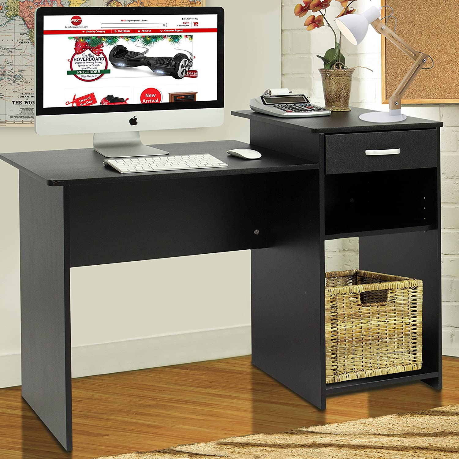 Amazon.com : Best Choice Products Student Computer Desk Home Office Wood  Laptop Table Study Workstation Dorm Bk : Office Products