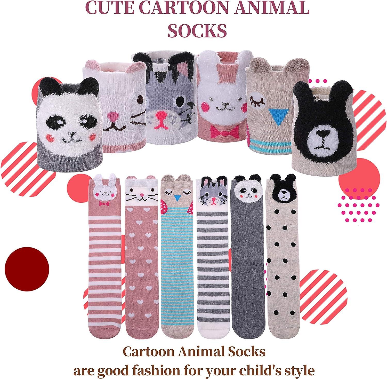 Color City Girls Socks Knee High Stockings Cartoon Animal Warm Cotton Socks(6 Pairs Animal): Clothing