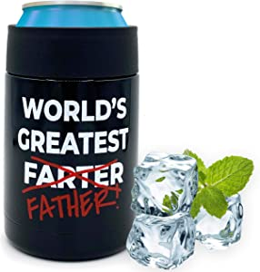 Beer Coozies for Cans - Worlds Greatest Farter Beer Can Insulator | 12 oz Metal Can Coozie Insulated Can Cooler, Stainless Steel Drink Thermos Holder | Beverage Rambler Coolers, Fathers Day Cozy Gift