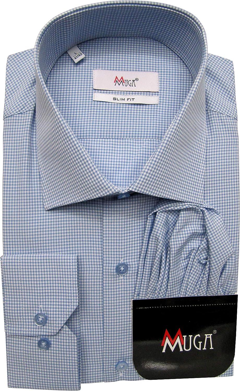 Camisa de manga larga para hombre de Mmuga a cuadros Slim Fit Vichy: Amazon.es: Ropa y accesorios