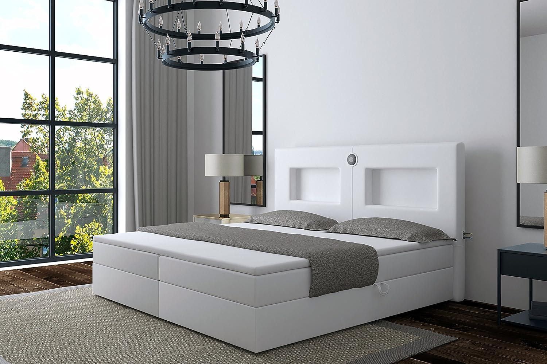 wohnenluxus moebel4home–Speaker Bluetooth con LED testa luce USB Caricatore Topper Hotel letto, weiss kunstleder, 180 x 200