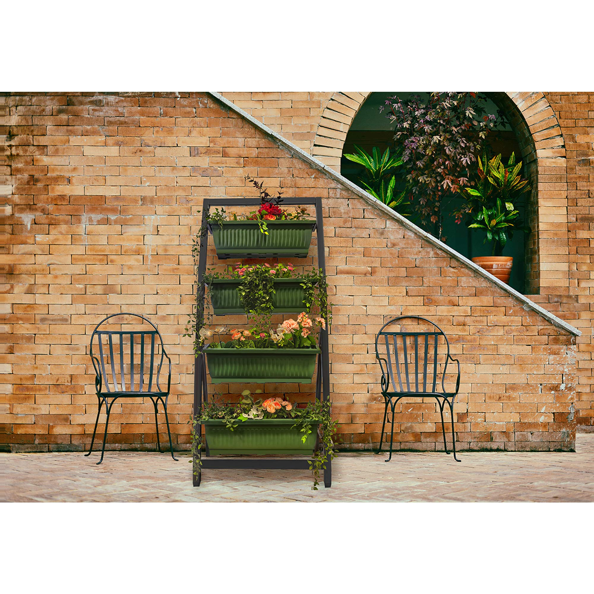 6-Ft Raised Garden Bed - Vertical Garden Freestanding Elevated Planter with 4 Container Boxes - Good for Patio or Balcony Indoor and Outdoor - Cascading Water Drainage (1-Pack/Forest Green) by Outland Living (Image #7)