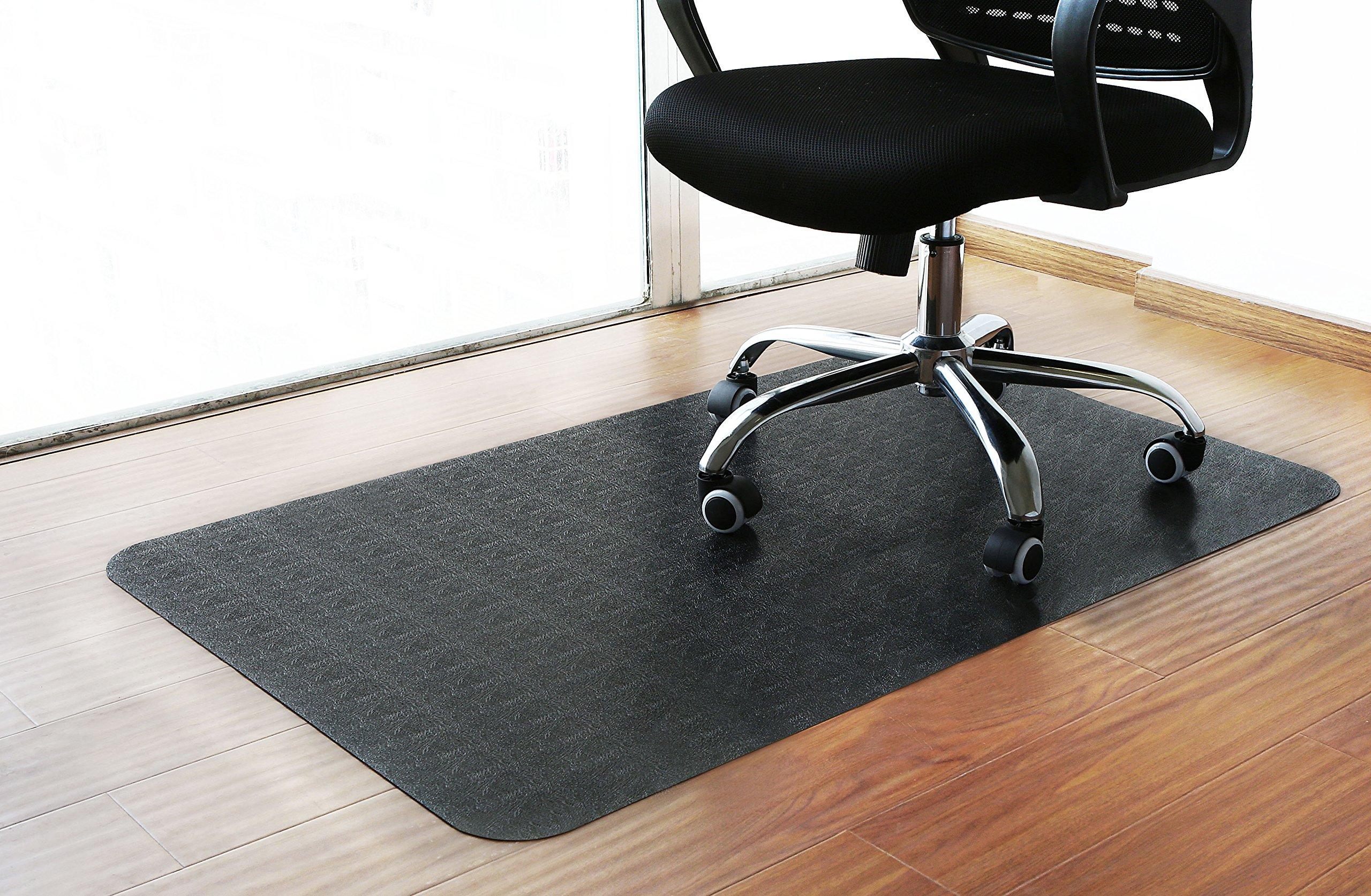 Polytene Office Chair Mat 48''x31''Hard Floor Protection Rectangular Anti Slide Coating on The Underside,Black
