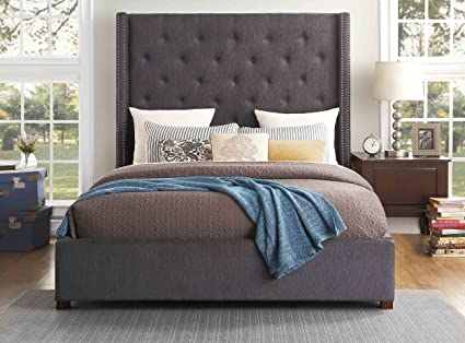 Homelegance Fairborn Upholstered Platform Bed with Footboard Storage California King Gray & Amazon.com: Homelegance Fairborn Upholstered Platform Bed with ...