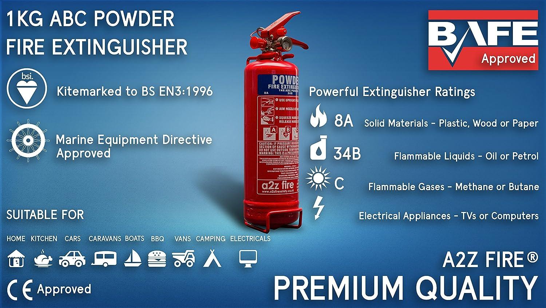 Pequeño extintor doméstico y manta ignífugaA2Z Fire, 1 kg de polvo, para hogar, cocina, coche, caravanas y barcos: Amazon.es: Bricolaje y herramientas