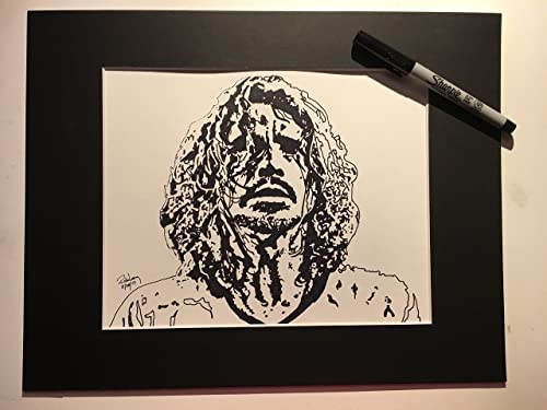 HAND DRAWN Original Artist 8 x 10 Watercolor PRINT Cornell Unfinished featuring LEGEND Chris Cornell 2017 by Rick Long. UNFRAMED LIMITED EDITION