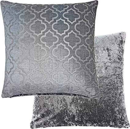 2 X FILLED REVERSIBLE CRUSHED VELVET CHENILLE SILVER GREY HONEYCOMBE CUSHION 17/""
