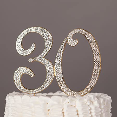 Number 30 Cake Topper for 30th Birthday or Anniversary Silver