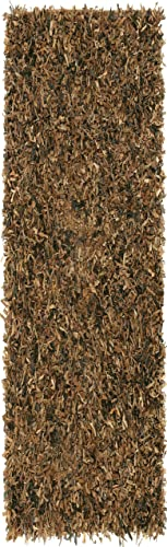 Brown Leather Shag 2.5 x12 Rug